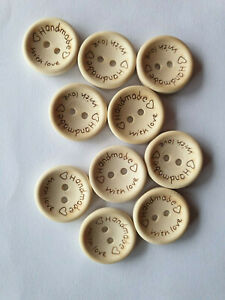 10 HANDMADE WITH LOVE 2 hole wooden buttons 15mm FREE post