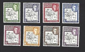 FALKLAND ISLAND DEPENDENCIES 1946 GEORGE VI, SET OF 8 MAP STAMPS. SG.G1-G8, MH