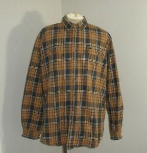 Carhartt S248 Heavyweight Plaid Cotton Long Sleeve Flannel Shirt Men's 2XL TALL