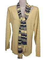 NEW LADIES VICTORIA JAYNE V NECK PLUS SIZE SCARF JUMPER SZ 14 - 22 BLUE CREAM