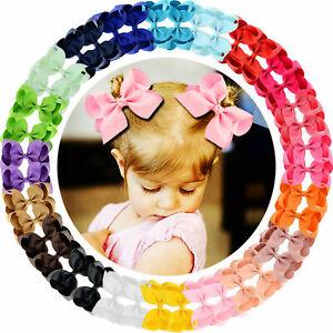 New Cute Big Grosgrain Ribbon Hair Bow Clips for Baby Girl toddler Kids Infant