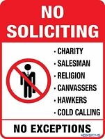 NO SOLICITING NO SALESMAN NO HAWKERS -- VARIOUS SIZES SIGN AND STICKER OPTIONS