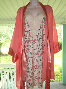 VTG Victoria Secret Gold Label Floral CHEMISE NIGHTIE Slip Night Dress Robe LG