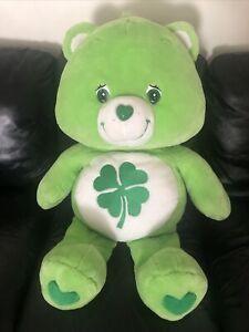 "3' XLARGE 2003 Lime Green CARE BEAR Plush 36"" Shamrock Good Luck Bear Clover"