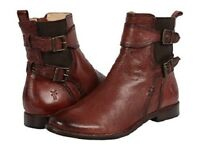 New in Box FRYE Womes Anna Gore Short Buffalo Leather Ankle Boots Red Size 6.5