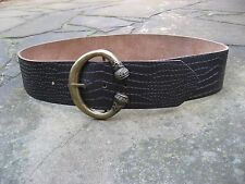S/M - Wide Brown Leather & PU Belt womens with decorative metal buckle