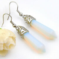 Special Holiday Jewelry Rainbow Fire White Moonstone Gems Women Dangle Earrings