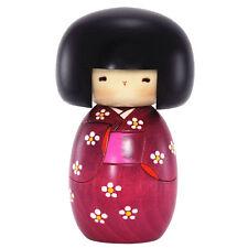 "Japanese Creative KOKESHI Wooden Doll Girl 6""H Pink Floral Kimono, Made in Japan"