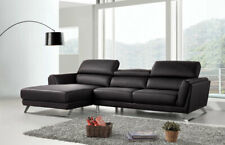 Modern Living Room Furniture - Black Eco Leather Sectional Sofa Couch Set IRWQ