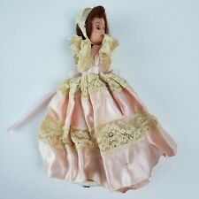 "Vintage 1950s Hard Plastic Girl Doll In Antique Dress 8""-PARTS OR REPAIR ONLY"