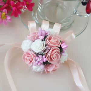 Wedding Party Flower Corsage Bracelet Bridal Bridesmaid Wrist Flowers Decor