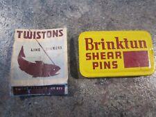 Vintage Brinktun Shear Pins tin 1 set & Ll Bean Twistons Match Book Line Sinker