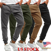Mens Slim Fit Trousers Solid Color Pants Skinny Casual Tracksuit Jogging Joggers