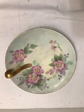 HAND PAINTED PORCELAIN SERVING DISH WITH HANDLE SIGNED C. MURRAY