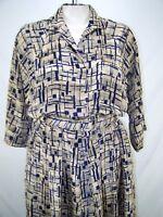 Pellii by Van Bramlett 13/14 Large Womens Size Beige Blue 3/4 Sleeve Dress