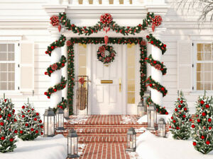 Christmas Decorated Porch 10X10FT Vinyl Photography Studio Backdrop Background