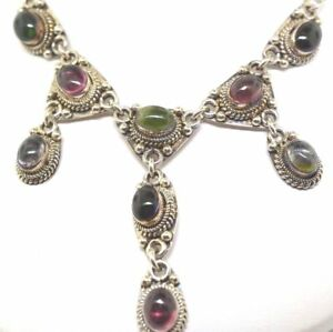 Sterling Silver And Multi Color Cabochon Necklace