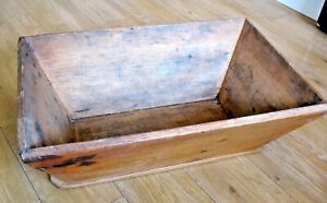 Large old antique pine dough / bread mixing trough or fireside log box etc