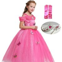 Kids Girl Sleeping Beauty Princess Aurora Cosplay dress Halloween Xmas costume