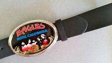 Eagles Rock Epoxy Photo Music Belt Buckle & Brown Bonded Leather Belt - New