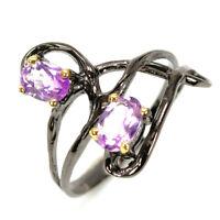 925 Sterling Silver Ring handmade jewelry Natural Amethyst black rhodium/ RVS312