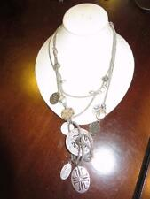 WOMENS SHAG SILVER DESIGNED TRIPLE CHAIN LONG COSTUME NECKLACE