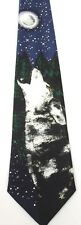 Gray Wolf Howl Moon Tie Animal Endangered Wildlife Wolves Navy A. Rogers Grey