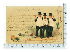 Top Hat Men Drink Wine - Toasts Wine Glasses and Grape Vines - Vintage Postcard