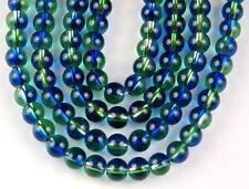 2 Tone Silver Line Capri Peridot Loose Glass Beads Jewelry Making  6mm 75 pcs