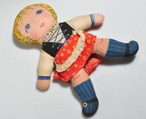 "Vintage German? Hand Made  Cloth Rag Doll Original Clothes= 10"" Long"