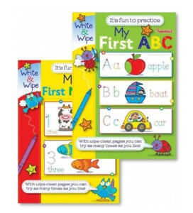 2 x CHILDREN'S MY FIRST NUMBERS & MY FIRST ABC WRITE AND WIPE FUN PRACTICE Books