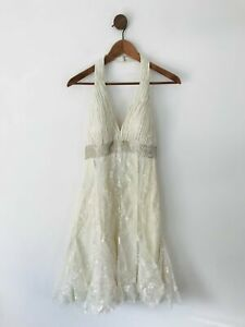 Aftershock Women's Halter Neck Lace Embroidered A-Line Dress | M UK10-12  | Whit