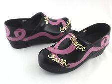 SANITA Clogs Breast Cancer Love Courage Shoes Black/Pink Women's 7.5-8 EU 38