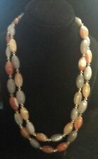 """MULTI-COLOR BANDED AGATE & STERLING Silver Bead 2-STRAND 18"""" Necklace W/TOGGLE"""