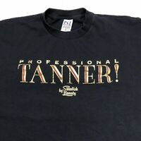 VTG PROFESSIONAL TANNER METALLIC FUNNY HUMOR BLACK SINGLE STITCH USA T SHIRT XL