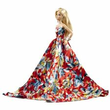 Peregrine Orange Red Floral Silk Ball Gown for Barbie Doll