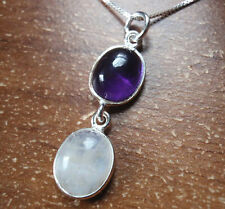Moonstone and Amethyst 925 Sterling Silver Pendant Corona Sun Jewelry