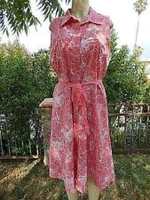 Liz&Co Floral Embroidered Coral Flared Dress Belted Below Knee  Sleeveless Sz 16