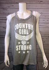 "Women's Miss Popular Gray Sleeveless Hi/Low ""Country Girl Strong"" Sz XL"