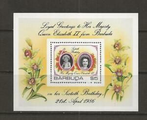 1986 MNH BARBUDA MINI SHEET - QUEEN ELIZABETH 60TH BIRTHDAY - R1e