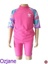 GIRLS OZCOZ UV UPV 50+ SUN PROTECTION SUIT 2 PC 6 TO 15 SWIMMING COSTUME PINK