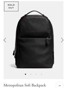 COACH Men's Metropolitan Soft Pebble Leather Backpack Navy