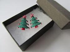 Handmade Xmas Green Red White Christmas Tree Inspired Stud Earrings - Boxed