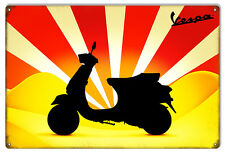 """Reproduction Yellow And Red Vespa Motor Bicycle Sign 12""""x18"""""""
