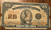 1923 DOMINION OF CANADA PAPER MONEY 25 CENTS 1923 PAPER BILL