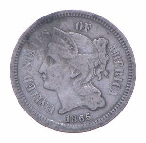 ***3***THREE***Cent*** 1865 - 3 Cent Piece Copper Nickel - Neat *279