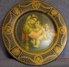 1905 Antique Vienna Art Plate Enameled Tin Litho Madonna Della Sevia Raffaello