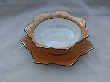 Noritake M Lotus Bowl, Luster Finish Peach Orange Color, with Saucer, Japan Made