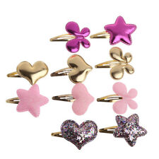 10Pcs Cute Baby Girls Hair Clip Star Heart PU Leather Pin Kid Hairpin Xmas Gift