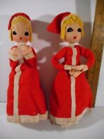 "2 Vintage Mid Century Red Felt Carolers 9"" Tall Women CHRISTMAS Made in Japan"